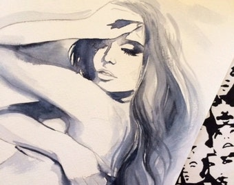 Hollywood Glam Art Print on Canvas from Original Painting - Fashion Illustration by Lana Moes - Romantic Home Decor - Bedroom Interior
