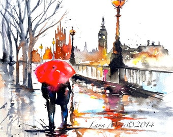 LondonTravel Watercolor Illustration -  Print from Original Watercolor Painting Cityscape Romance - Lana's Art - Wanderlust Illustration