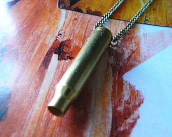 Antique Bronze Bullet Charm Necklace- Small