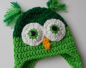 Owl Baby Hat - Light Green and Dark Green - Handmade Crochet - Baby Boy Owl Hat - Made to Order