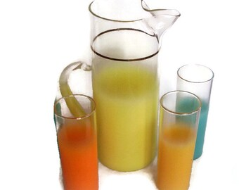 Mid Century Vintage Blendo Ombre Tall Pitcher and 3 Glasses