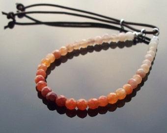 Yoga bracelet - ombre Jade beads - beaded - Friendship bracelet adjustable closure Boho luxe Hippie Bracelet