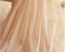 peac pink mesh Lace Fabrics,  dots Gauze , Mesh lace, netting lace with polka dots. tulle lace fabric