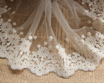 Ivory lace trim, embroidered lace with scalloped trim