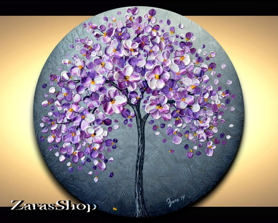 Round Purple And White Abstract Painting