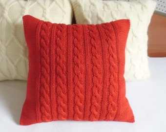 Custom Paprika Cable Knit Pillow Case, Knit Throw Pillow, Red Pure Cotton Hand Knit Pillow Cover, Decorative Couch Pilow, Custom Knit