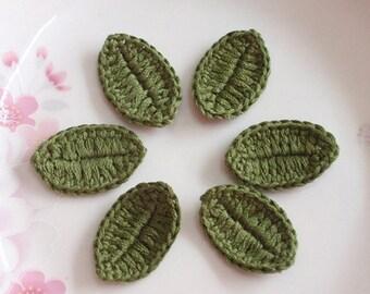 6 Crochet  Leaves In Dark Green YH-082-10