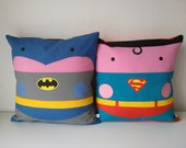 Superman Batman comic kawaii pillow 2  pillow cushions covert  cinema adict  40x40 cm  16' x 16' Inches