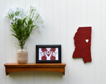 "Mississippi State Bulldogs ""State Heart"" wall art, handcrafted wood with official team colors"