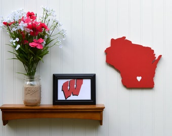 """Wisconsin Badgers """"State Heart"""" wall art, handcrafted wood featuring official team colors"""