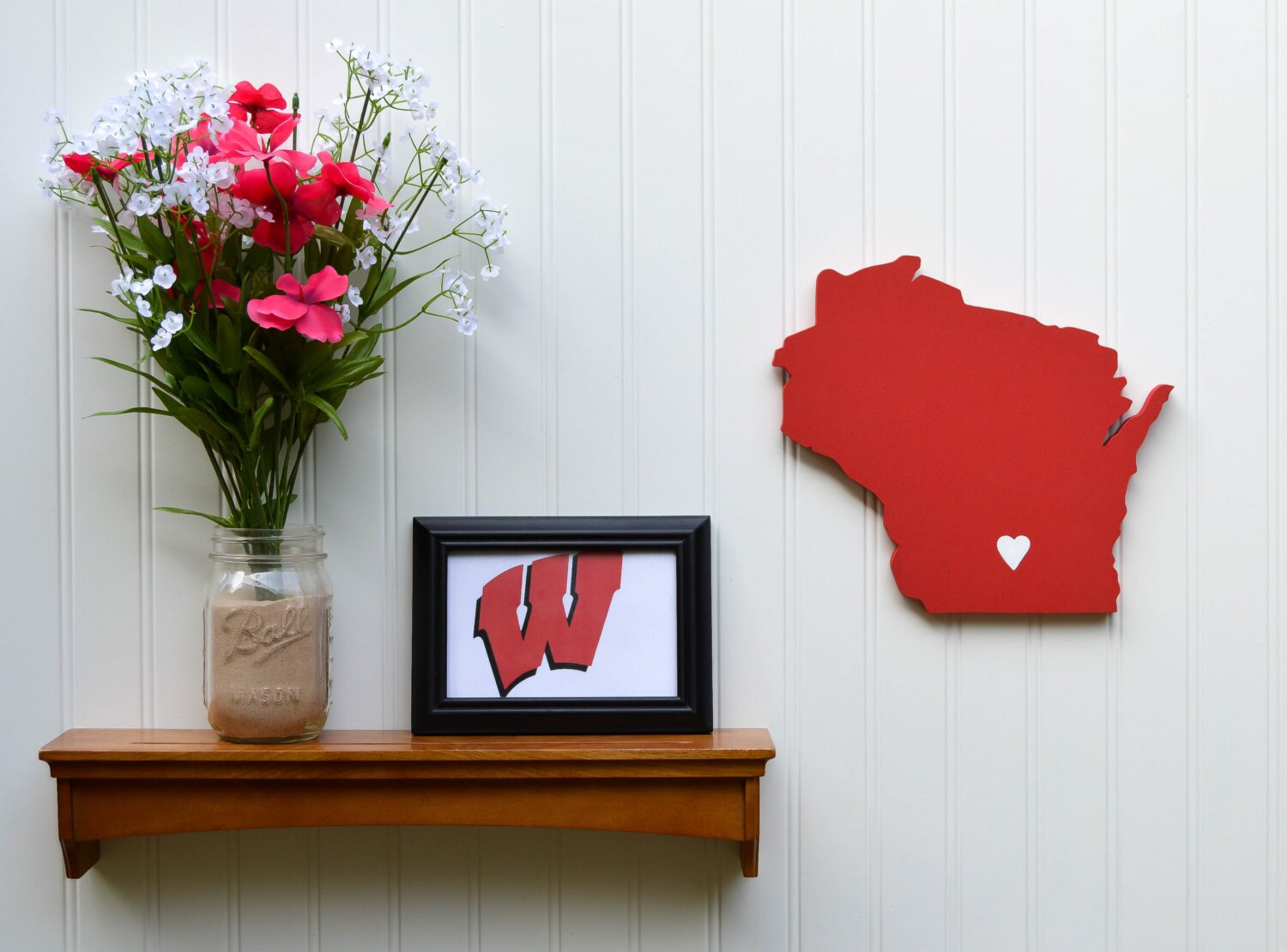 Wisconsin Badgers State Heart Wall Art