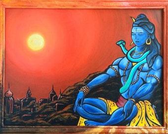 Shiva at peace. 19.5 x 25.5 original painting by Veron Ramsawak