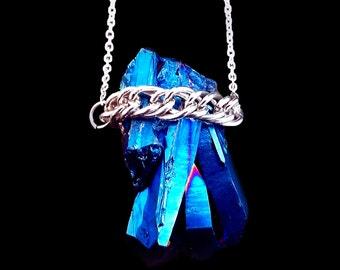 Blue aura quartz crystal necklace, cobalt cluster crystal, blue quartz necklace, titanium quartz necklace, magic necklace, angel quartz,OOAK