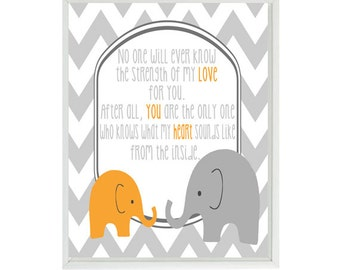 No One Will Ever Know The Strength Of My Love Quote -  Elephant Nursery Art - Typography Word Art - Gray Chevron Wall Art Print