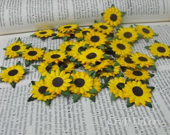 Paper Flowers Sunflower Mulberry Paper Set of 50 / Size: 1 Inch.