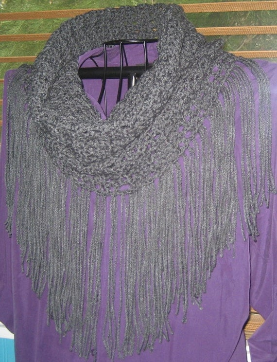 Crochet Infinity Scarf With Fringe Pattern : Infinity Crochet PATTERN ONLY.......Fringed Infinity Scarf