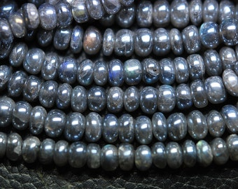 7 Inch Strand, Super Rare Finest-Quality-Mytic Labradorite Smooth Polished Rondelles 6-7mm