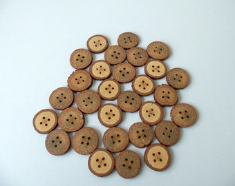 NEW - Wood Buttons - 30 Buttons - BlackJack Tree Branch Buttons - 1 2/5 inches in diameter - For Crafters - Knitting
