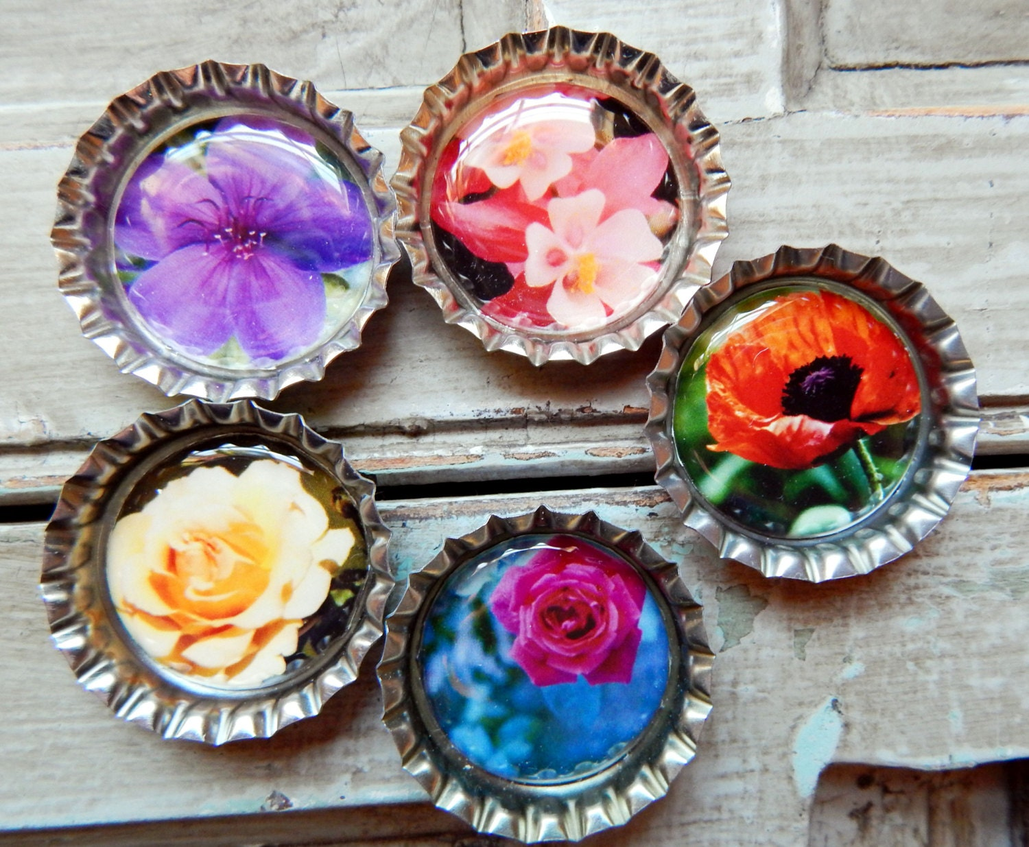 Flower bottle cap magnets set of 5 summer flower collection for How to make bottle cap flowers