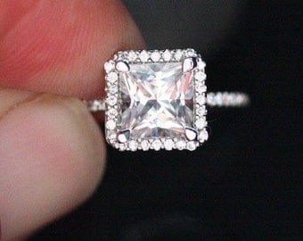 White Topaz Halo Ring in 14k White Gold with White Topaz Princess Cut 7mm and Diamond Ring (Also Available in Rose Gold)