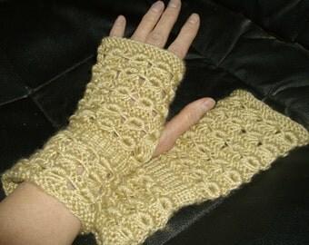 Beige lace fingerless gloves, wristwarmers.  FREE shipping