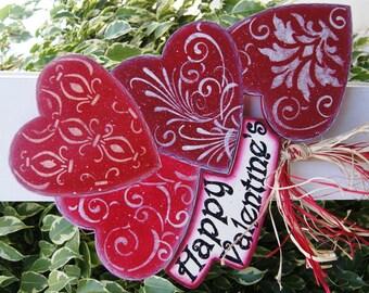Happy Valentine's Yard Stick - Wood Valentine Sign - Valentine Heart Decoration