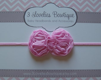 Pink Bow..Newborn Headband..Baby Girl Headband..Valentine Headband..Baby Headband..Toddler Headband..Infant Headband