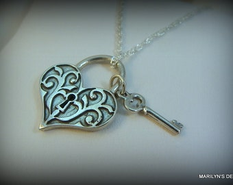 Sterling silver key and heart necklace, heart lock and key necklace, love jewelry