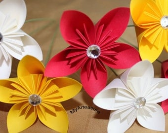 Paper flowers with stem. You choose the color.