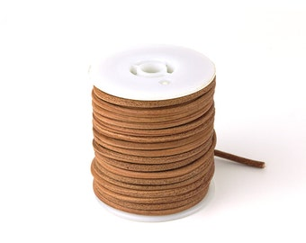 3mm Leather Cord, Wood Brown Genuine Leather Cord, Round Leather Cord, Pkg of 30 ft., D0F7.WB31.L30F