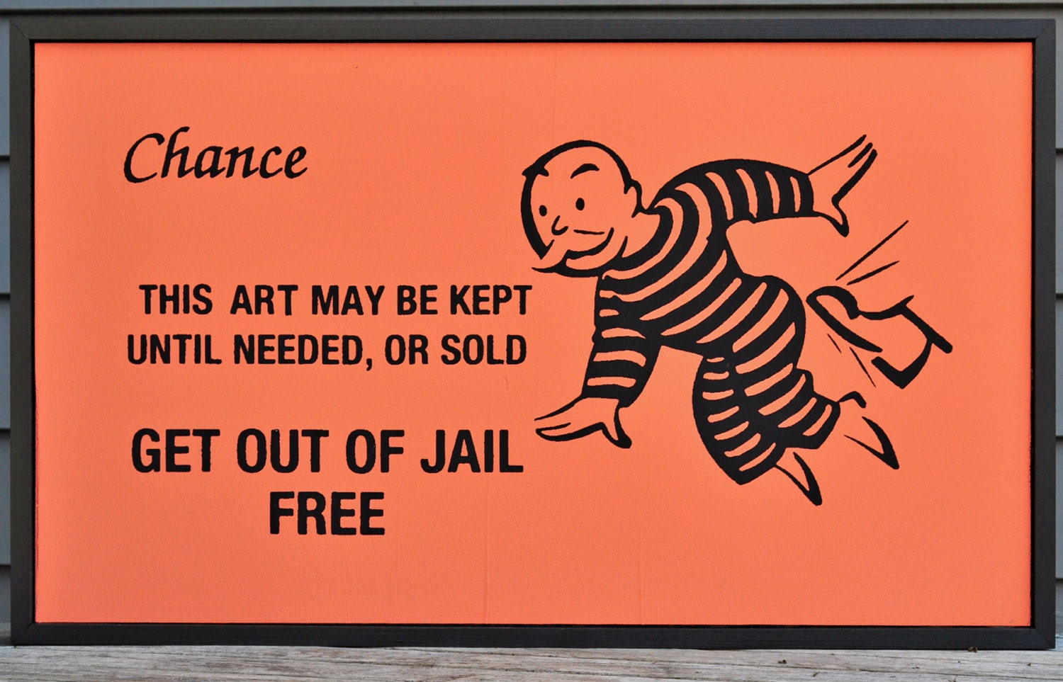 Framed get out of jail free monopoly chance card folk art for Get out of jail free card template