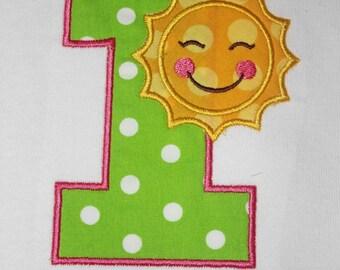 Sunshine Birthday Number Shirt or Onesie - Custom Monogrammed