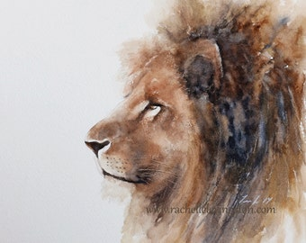 for him watercolor painting of lion african wall hanging african wall art african room decor art PRINT of lion art nursery artwork h