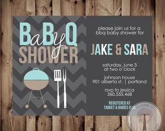 Baby Shower BBQ. BBQ Baby Shower Invitation, bbq shower, barbecue baby shower, baby girl shower, baby boy shower, summer baby shower