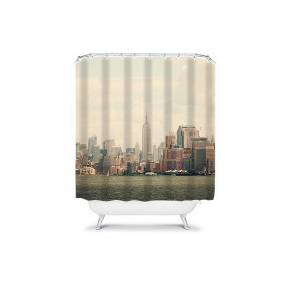 New york city shower curtain bathroom by wanderlustography for New york city bathroom decor