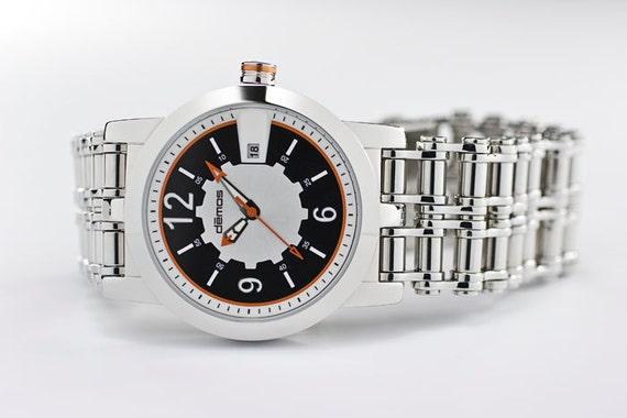 Motorcycle CHAIN Watch / Bikers wristwatch / Mayans MC style - polished stainless steel bracelet with black / white / ORANGE dial