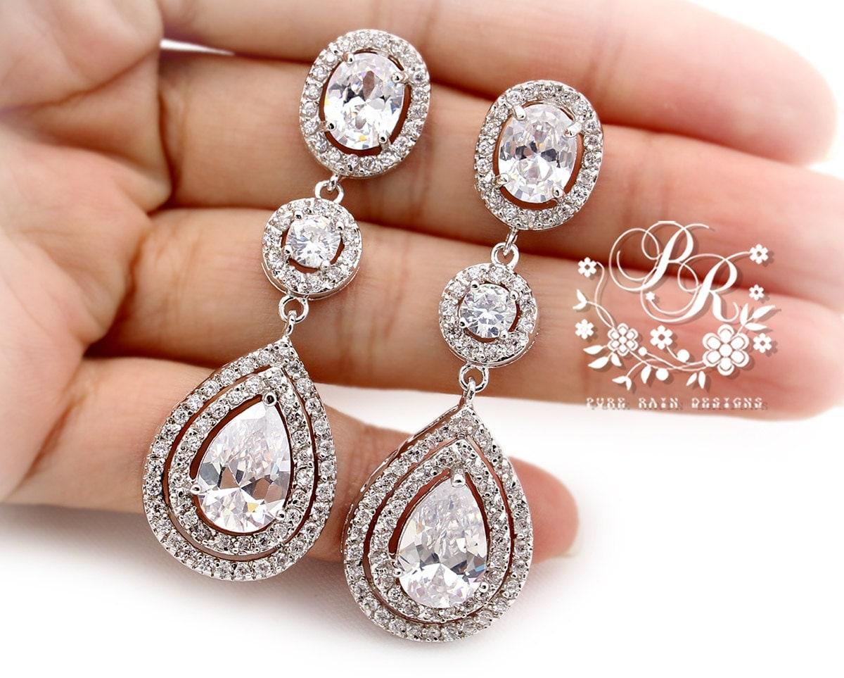 Wedding Earrings Platinum Plated Zirconia Teardrop Earrings