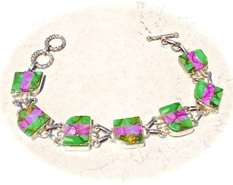 Stunning Green and Purple Copper Turquoise Bracelet .925 Sterling Silver