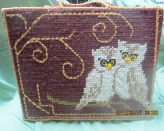 CLEARANCE! was 15.00 Vintage Handmade Bucilla Owl Lined Tote Bag from the 1970's, S