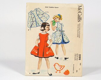Vintage 1957 McCalls Girls Cobbler Apron Printed Pattern with Transfer - Size 12 - No. 2199 With Original Sleeve