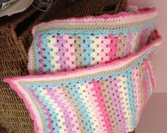 Crochet pattern for granny stripe baby or lap blanket - instant download