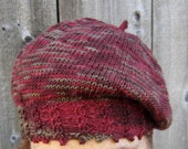 Hand Knit Wool Beret, Rich Red Slouchy Cap, Cable Knit Tam, Comfy and Light Beret, Soft Wool Tam