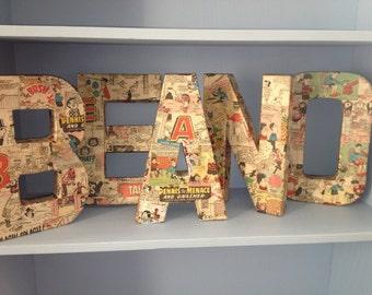 Handmade vintage Beano decoupage letters