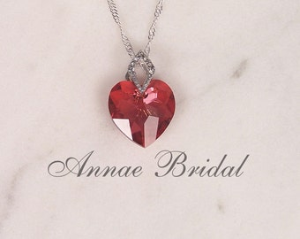 """Red crystal heart necklace, bridal jewelry, wedding, Swarovski, """"Amour"""" lg heart necklace in Red Magma color"""