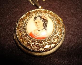 Vintage Locket with Victorian Woman
