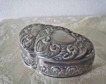 Silver Plated Heart Jewelry Box  Trinket Box