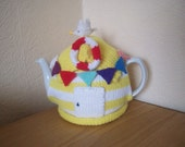 Knitted Tea Cosy Cosie Cozy Yellow  Beach Hut with Seagull and Bunting Shabby Chic