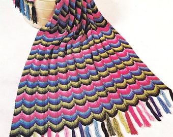 Crochet Knitting Pattern Ripple Afghan Throw Blanket - Lap Blanket PDF Instant Download Tassel Couch Throw - Digital Pattern Snuggle Blanket