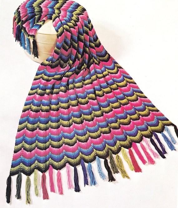 Crochet Knitting Pattern Ripple Afghan Throw Blanket Lap