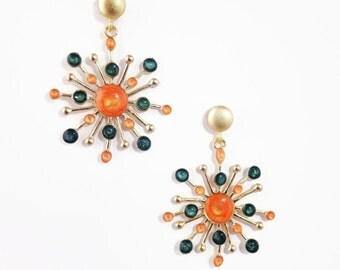 Red Gold Earrings, Branch Earrings, Gold Dangles, Xmas Shopping, Nature Jewelry, Enamel Jewelry,Twig Jewelry, Red Dangles,Xmas Ideas for Her